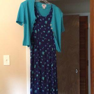 Vintage blue sundress with matching cardigan